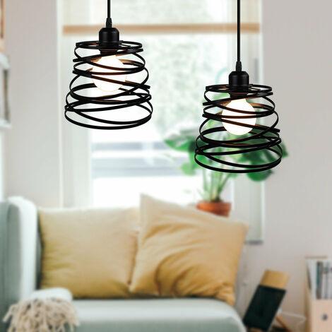 2 Pack Lustre Suspension Créatif Lampe Abat-jour Métal 20cm E27 pour Salon Chambre Bar Noir