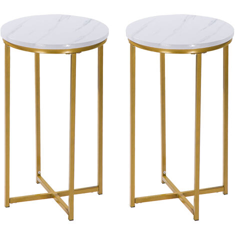 2 Pack Marble Side Table Modern Small Round Coffee Tea End Side Table with Metal Gold Frame for Living Room Bedroom, 40 x 40 x 60cm
