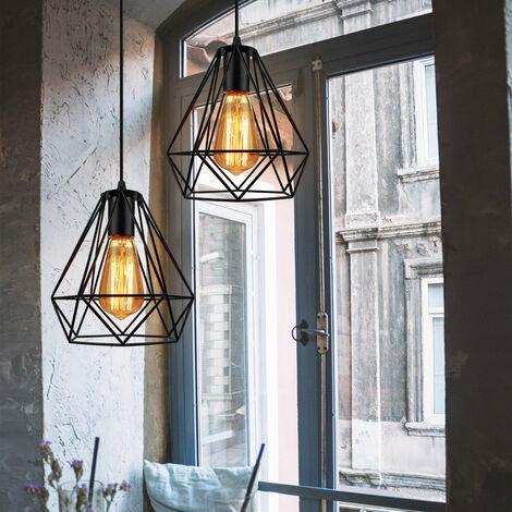 2 Pack Metal Diamond 20cm Chandelier Industrial Vintage Pendant Light Modern Rustic Pendant Lamp for Loft Cafe Dining Indoor Decoration Black E27