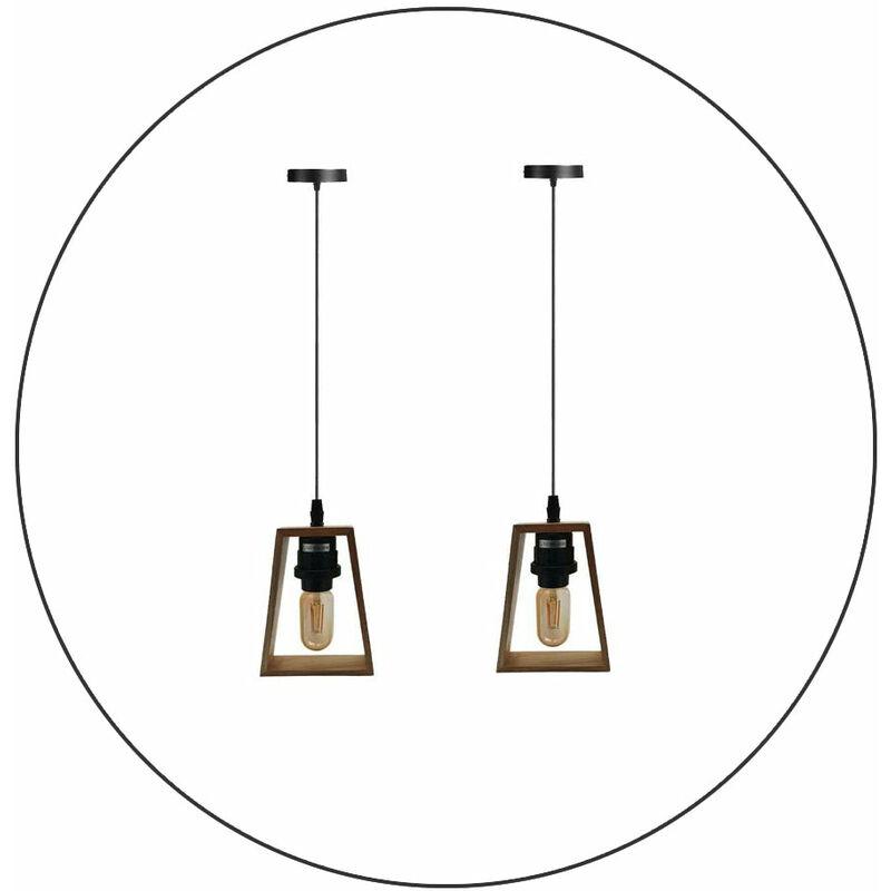 Image of 2 Pack Modern Ceiling Pendant Light Fitting Wood Style Pendant Light Kit - LEDSONE