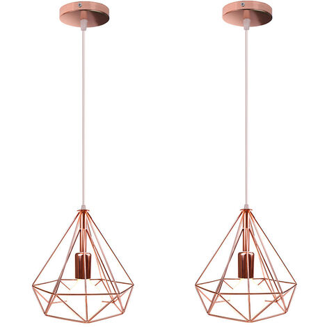 2 Pack Modern Nordic Hanging Lamp Diamond Industrial Pendant Light Retro Metal Shade Vintage Ceiling Light for Bar Cafe Office Rose Gold