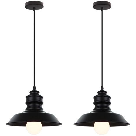 2 pack Nostalgic Antique Pendant Light Black Retro Industrial Ceiling Lamp Iron Metal Creative Chandelier for Bedroom Cafe Bar