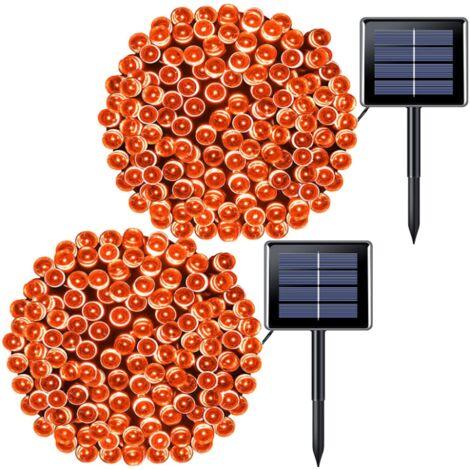 "main image of ""2 Pack Orange Halloween Lights,Solar Halloween String Lights Outdoor Solar Christmas Lights Waterproof for Gardens, Wedding, Touch section-12m 100 lights 8 mode"""