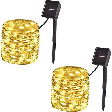"""main image of """"2-Pack, Outdoor Solar String Lights, 33ft 100-LED Waterproof Solar Fairy Lights with 8-Modes for Outdoor/Indoor, Solar Christmas Lights for Garden, Party, Christmas Tree Decorations (Warm White)"""""""