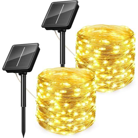 [2 Pack] Outdoor Solar String Lights, Solar Fairy Lights, 10M 100LED 8 Modes, Waterproof Silver Copper Wire Garden Lights Solar Lights Outdoor for Decoration (Warm White)
