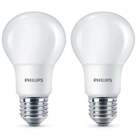 2 Pack Philips LED Frosted E27 Edison Screw 60w Warm White Light Bulb Lamp 806Lm