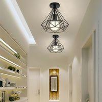 2 pack Plafonnier industrielle Retro 25cm en forme Diamant Suspension Luminaire pour Salle à Manger,Bar,Chambre (Noir)