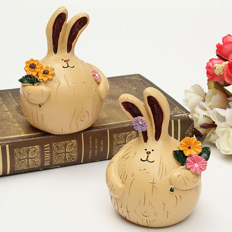 2 Pack Resin Vintage Flower Rabbit Miniature Rabbit Figurine Wedding Gift Doll House Accessories Table Decoration