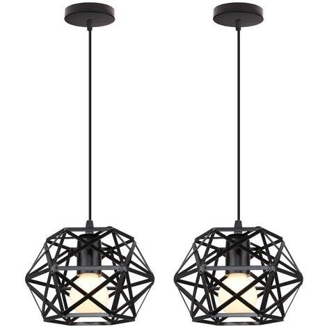 2 Pack Retro Black Pendant Light Metal Cage Ceiling Light Vintage Industrial Hanging Light Antique Pendant Lamp Ø200MM