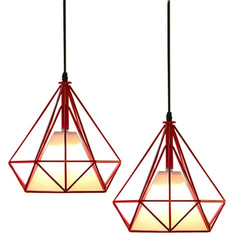 2 Pack Retro Pendant Light 25cm Diamond Cage Ceiling Light Vintage Hanging Light Red Industrial Chandelier Metal Iron Pendant Lamp E27