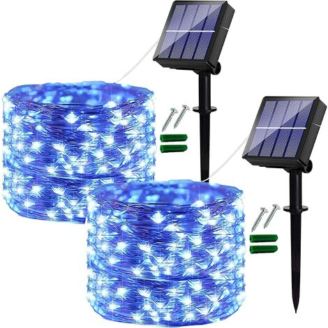 [2 Pack] Solar Fairy Lights Outdoor, 120 LED Solar Garden Lights Outdoor Waterproof , 10M/32Ft 8 Modes Copper Wire Decorative Solar String Lights for Garden, Patio, Yard, Party, Wedding (Blue)