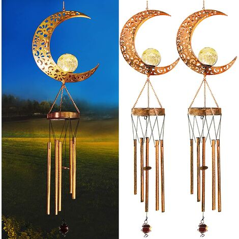 2-Pack Solar Powered Moon Lights Wind Chimes, Metal Casting Shadows Moon Style Wind Chimes with Crackle Glass Ball Warm Lights, Outdoor Home Garden Patio Decor for Mother's Day Birthday Gift