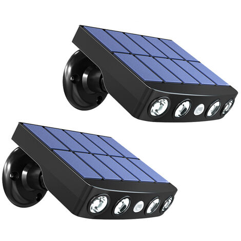 "main image of ""2 Pack Solar Powered Wall Lights Outdoor PIR Motion Sensor Security Light Lights IP65 Waterproof Lamp for Yard Garden Garage Patio Deck,model:White"""
