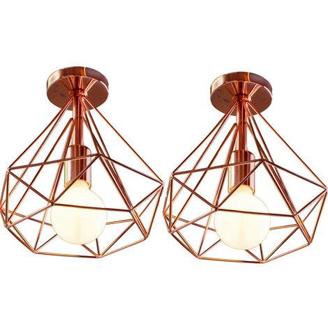 2 Pack Vintage 25cm Diamond Rose Gold Ceiling Lamp Metal Cage Industrial Ceiling Light Creative Chandelier