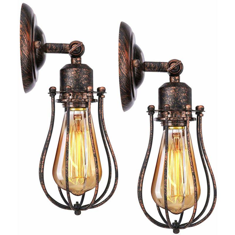 2 Pack Wall Light Adjule Socket Rustic Wire Metal Vintage Lighting Fixture Cage Lamp Retro Sconces Indoor Home Loft
