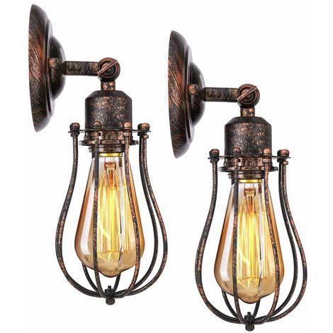 2 Pack Wall Light Industrial Adjustable Socket Rustic Wire Metal Vintage Lighting Fixture Cage Wall Lamp Retro Sconces Indoor Home Loft