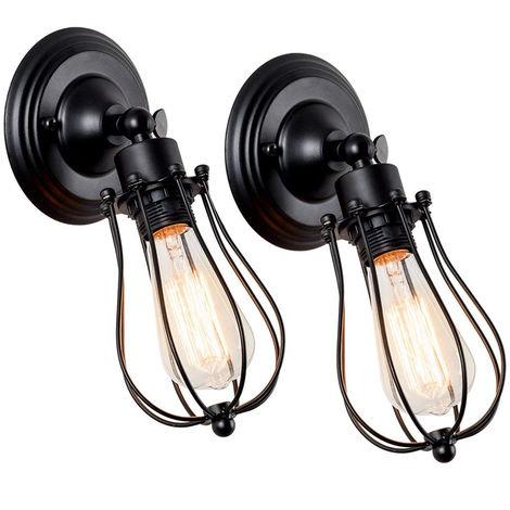 2 Pack Wall Light Industrial Adjustable Socket Rustic Wire Metal Vintage Lighting Fixture Cage Wall Lamp Retro Sconces Indoor Home Loft,black
