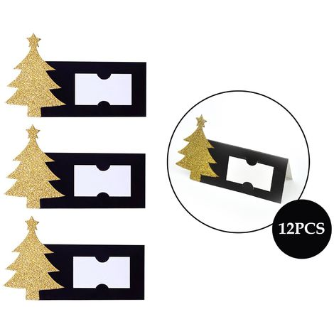 12 Place Cards Set Christmas Tree Xmas Table Gold Glitter Festive Wedding Party