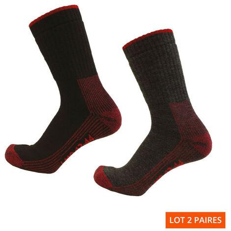 2 paires de chaussettes laine Cordura - Gamme Chaussettes - CRONOS - NOIR-ROUGE et GRIS CHINE-ROUGE - 99102C - LMA Lebeurre
