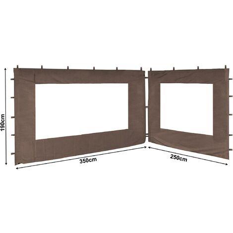 2 paneles laterales con ventana de PE 250 / 350x190cm Beige-gris para Gazebo 3x4m