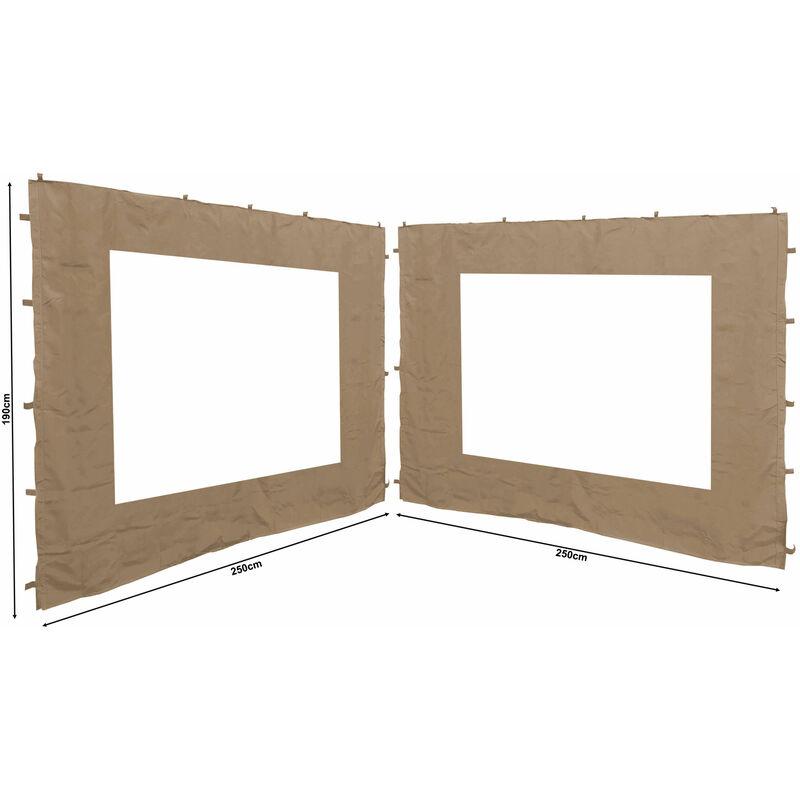 2 panneaux latéraux avec fenêtre PE 250x190cm Beige pour Gazebo 3x3m