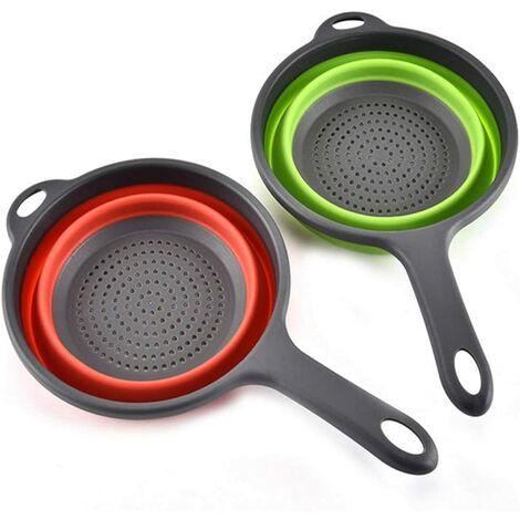 2 Paquet Paniers Filtrants en Silicone Pliables Avec Poignée, Passoire Pliable, Passoire de Cuisine, Bol à Vaisselle, Pour égoutter les Pâtes Légumes Aux Fruits (Vert, Rouge)
