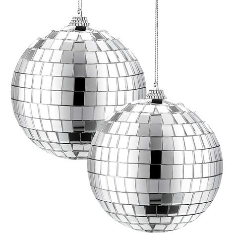 2 Paquets 4 Pouces Boule Disco Miroir, Décoration de Soirée Disco des Années 70, Balle Suspendue pour Fête ou Effet de Lumière DJ, Accessoires de Scène, Accessoires de Jeu (Argent)