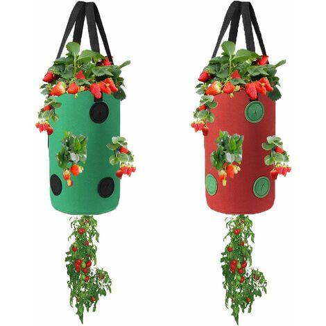 2 paquets de jardinière à l'envers, sac de culture de pommes de terre à la fraise et à la tomate, sac de plantation de légumes pour plantes de jardin avec trous (vert + rouge)