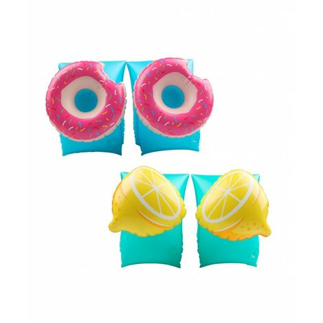2 pares de manguitos inflables para niños 3-6 años. Para piscina y playa -Limón Donut