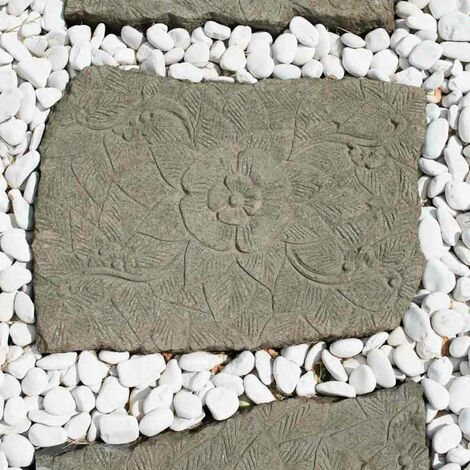 2 pasos japoneses de piedra volcánica esculpida flor 60 x 50 cm