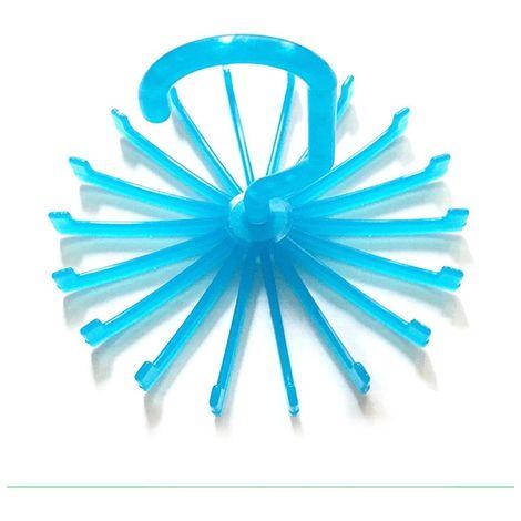 2 PCS 18 griffes 360 bleu degrés rotatif cravate Rack ceinture écharpe porte-cintre, taille: L