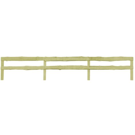 2 pcs 2-Rail Garden Fences Impregnated Pinewood 510x90 cm - Brown