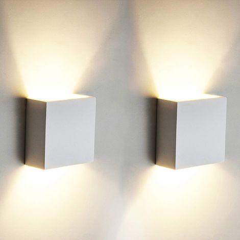 2 Pcs 6W Applique murale LED mur lumière Up Down intérieur mur lampe  moderne en aluminium appareils d\'éclairage pour le salon chambre salle de  bains ...