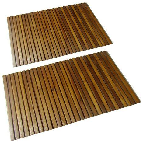 2 pcs Acacia Bath Mat 80 x 50 cm VD15507