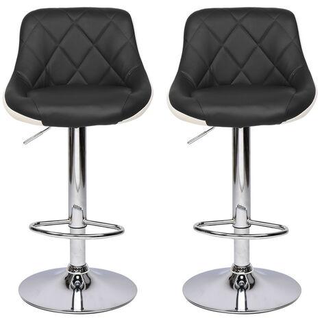 "main image of ""2 pcs adjustable height bar stool 360°leather rotating bar stool counter kitchen Black - Black"""