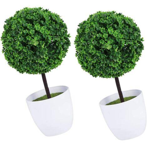 2 Pcs Artificielle Topiaire Boule Faux Plante Verte Boules Simulé en Pot Bonsaï Plante Plante Décorative pour Jardin Cour Maison Balcon