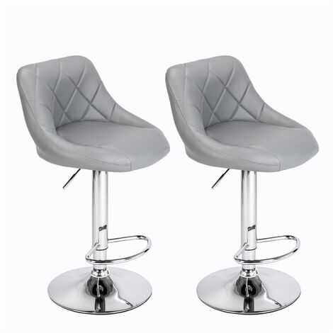 """main image of """"2 pcs bar stool leather adjustable height swivel with backrest bedroom kitchen bar Gray - Gray"""""""
