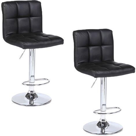 "main image of ""2 pcs bar stool leather rotating adjustable height modern indoor home stool Black - Black"""
