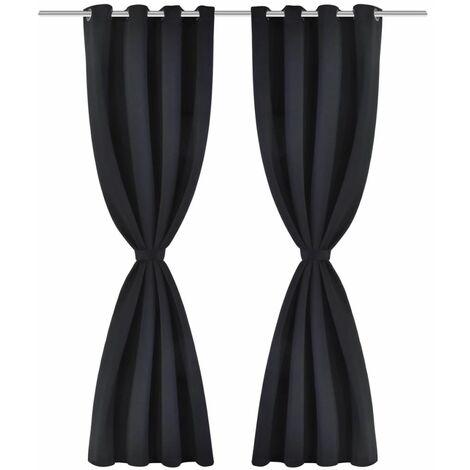 2 pcs Black Blackout Curtains with Metal Rings 135 x 245 cm QAH00273