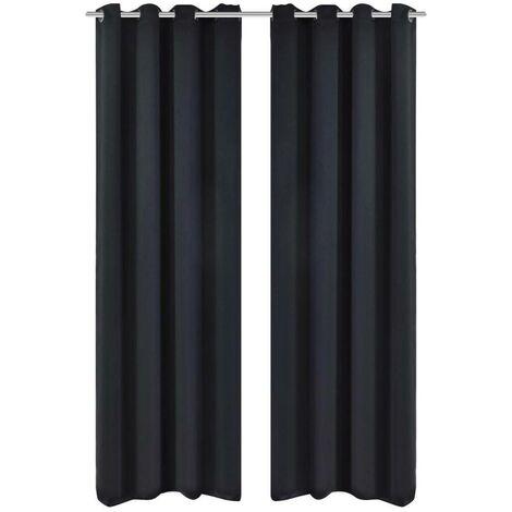 2 pcs Black Blackout Curtains with Metal Rings 135 x 245 cm VD00273