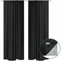 2 pcs Black Energy-saving Blackout Curtains Double Layer 140 x 245 cm