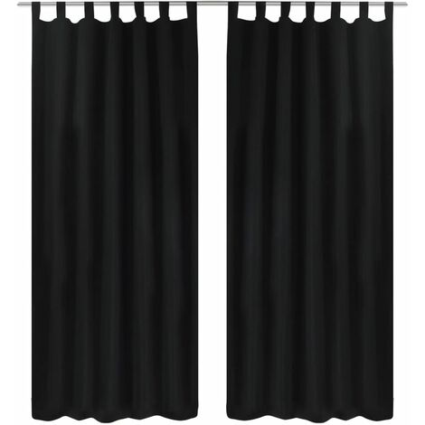 2 pcs Black Micro-Satin Curtains with Loops 140 x 175 cm - Black