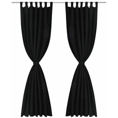 2 pcs Black Micro-Satin Curtains with Loops 140 x 175 cm QAH00257