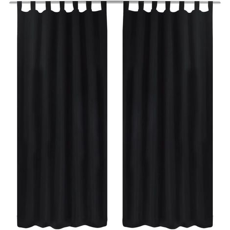 2 pcs Black Micro-Satin Curtains with Loops 140 x 175 cm VD00257