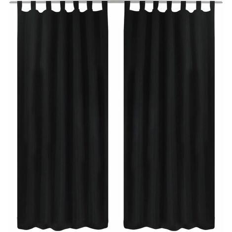 2 pcs Black Micro-Satin Curtains with Loops 140 x 225 cm - Black