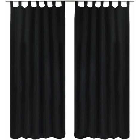 2 pcs Black Micro-Satin Curtains with Loops 140 x 245 cm