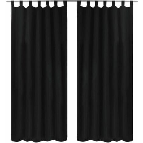 2 pcs Black Micro-Satin Curtains with Loops 140 x 245 cm - Black