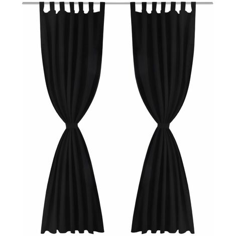 2 pcs Black Micro-Satin Curtains with Loops 140 x 245 cm QAH00259