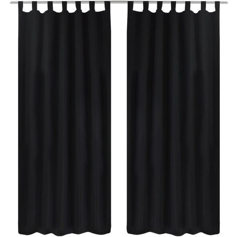 2 pcs Black Micro-Satin Curtains with Loops 140 x 245 cm VD00259