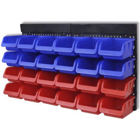 2 pcs Blue & Red Wall Mounted Garage Tool Organiser